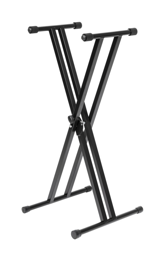 Double-braced X-style keyboard stand, foldable