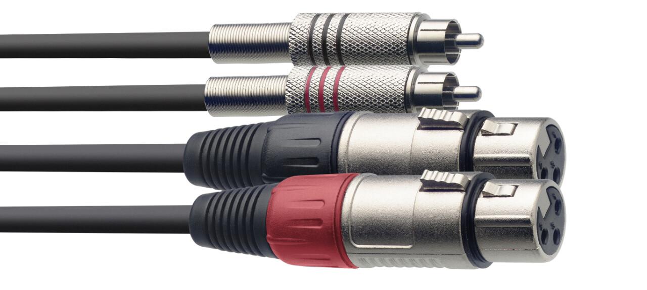 Câble bretelle, XLR/RCA (f/m), 3 m