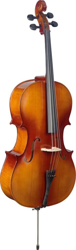 3/4 gelamineerde cello, spar en esdoorn, met hoes
