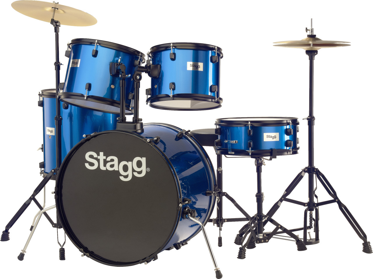 """5-piece, 6-ply basswood, 22"""" standard drum set with hardware & cymbals"""