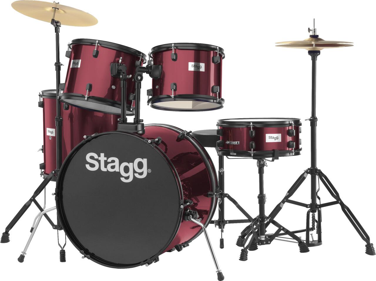 """5-teiliges, 22"""" Standard Linden Schlagzeug m. Hardware u. Becken"""