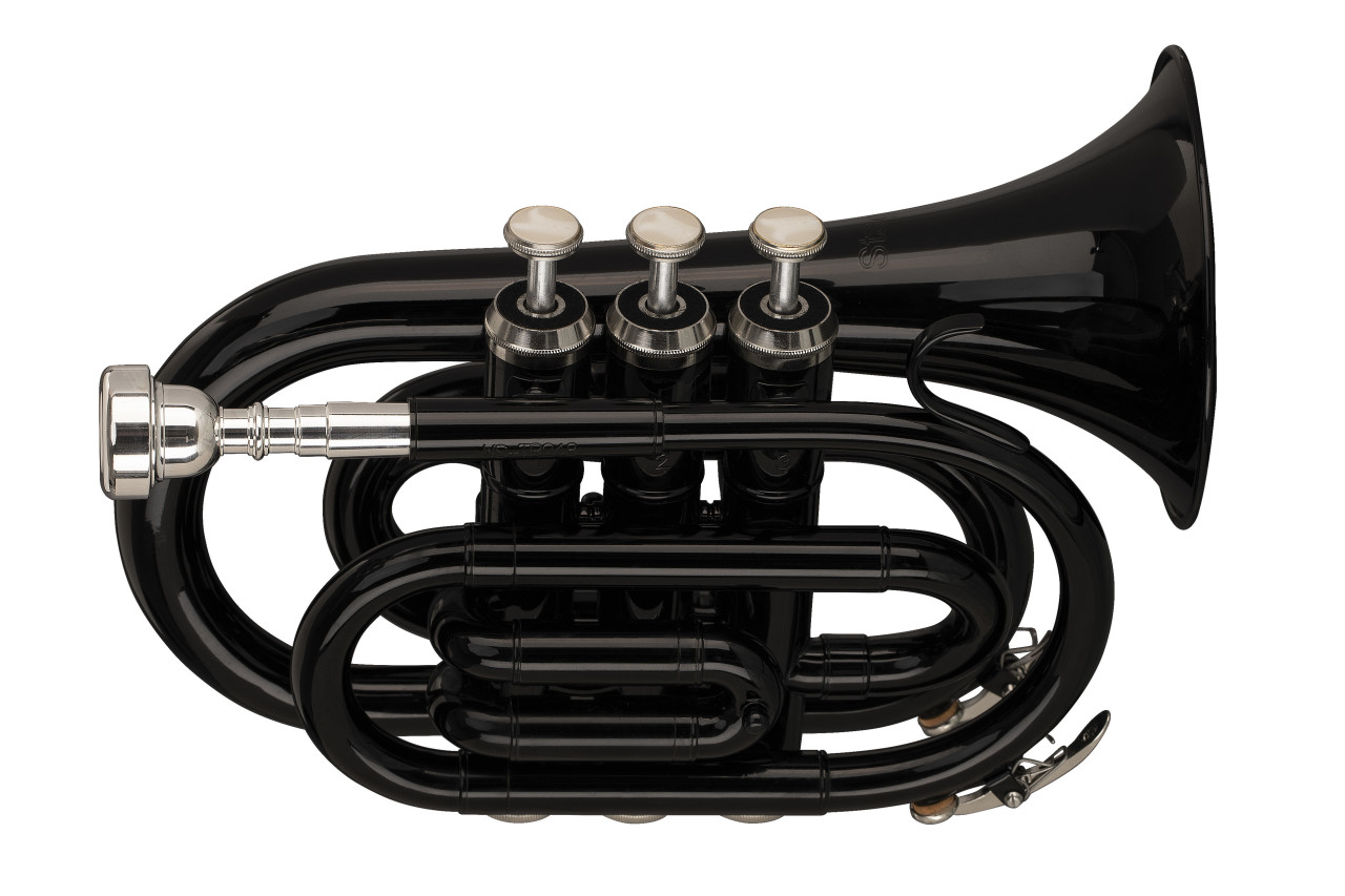 Bb pocket trumpet, ML-bore, brass body, black