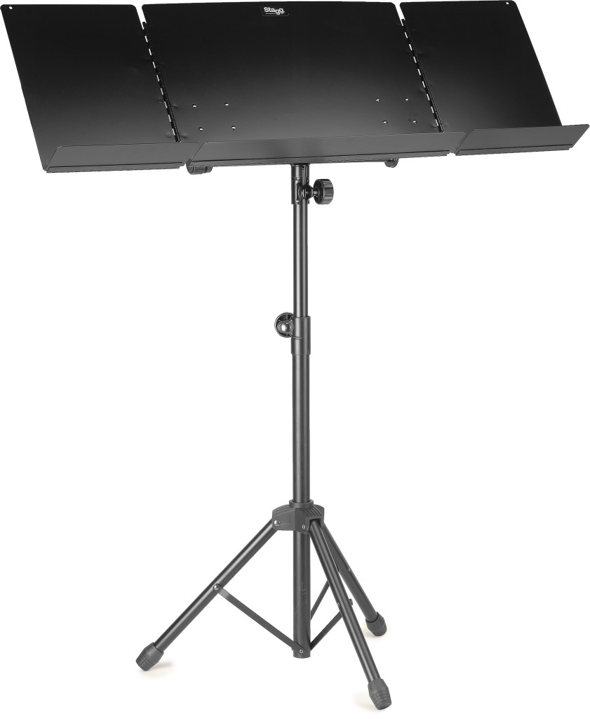 Orchestral music stand with plain metal music rest and expandable sides