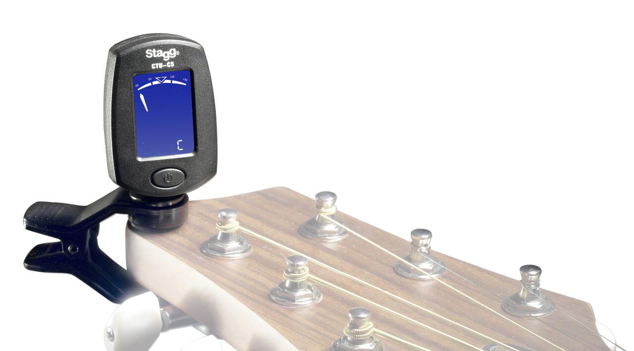Clip-on chromatic tuner for guitar, bass, violin & ukulele