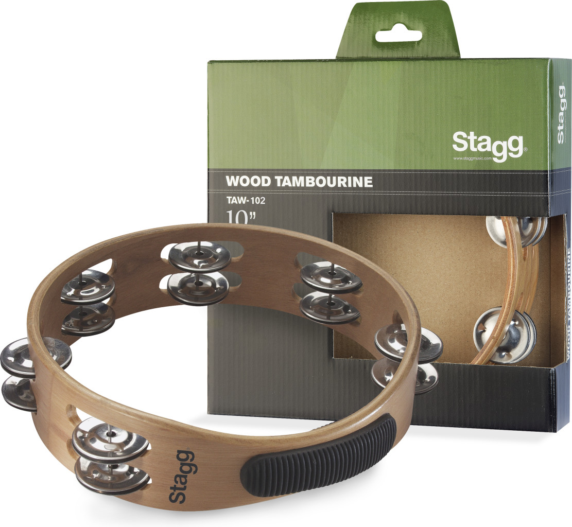 """10"""" headless wooden tambourine with 2 rows of jingles"""