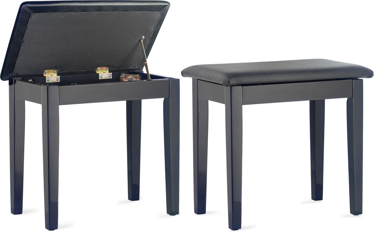 Banquette de piano, noire brillante, avec pelote en skaï noir et compartiment pour partitions
