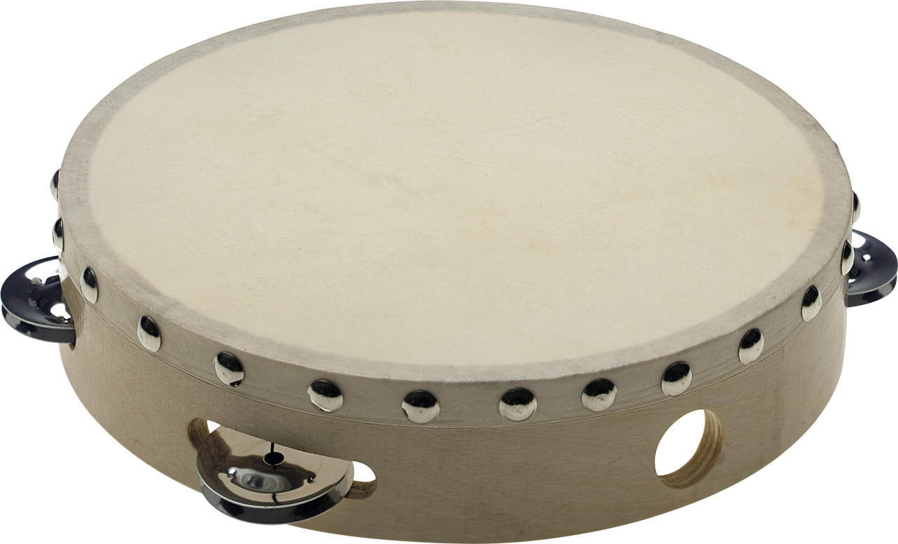 """8"""" pre-tuned wooden tambourine with rivetted head and 1 row of jingles"""