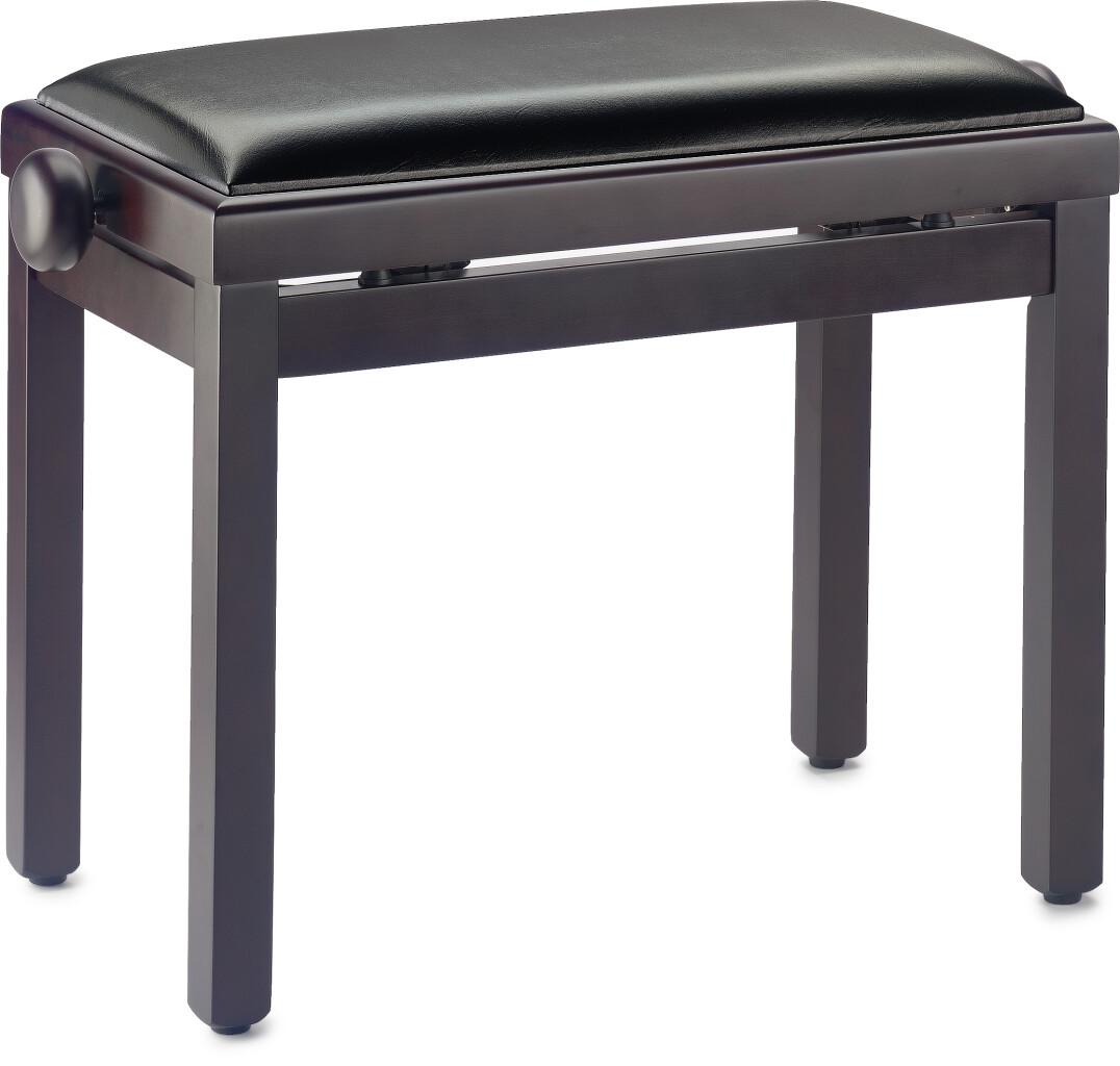 Pianobank, palissanderkleurig, matgelakt, met zwarte kunstleren bekleding