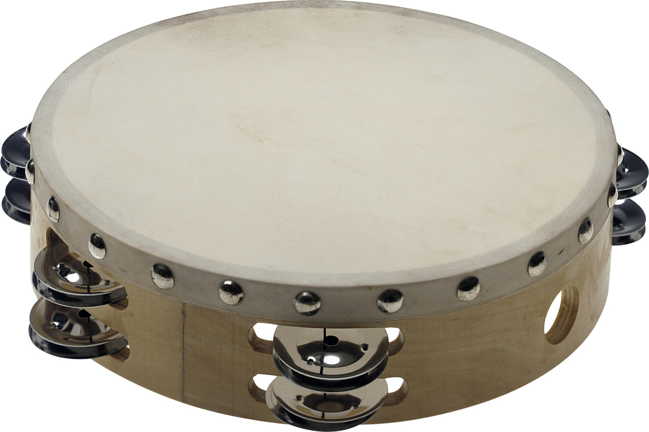 "8"" pre-tuned wooden tambourine with rivetted head and 2 rows of jingles"