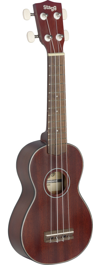 Traditional soprano Ukulele with solid mahogany top, in black nylon gigbag