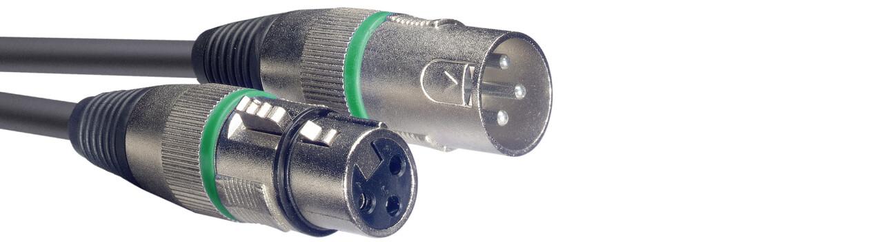 Microphone cable, XLR/XLR (m/f), 10 m (33'), green ring