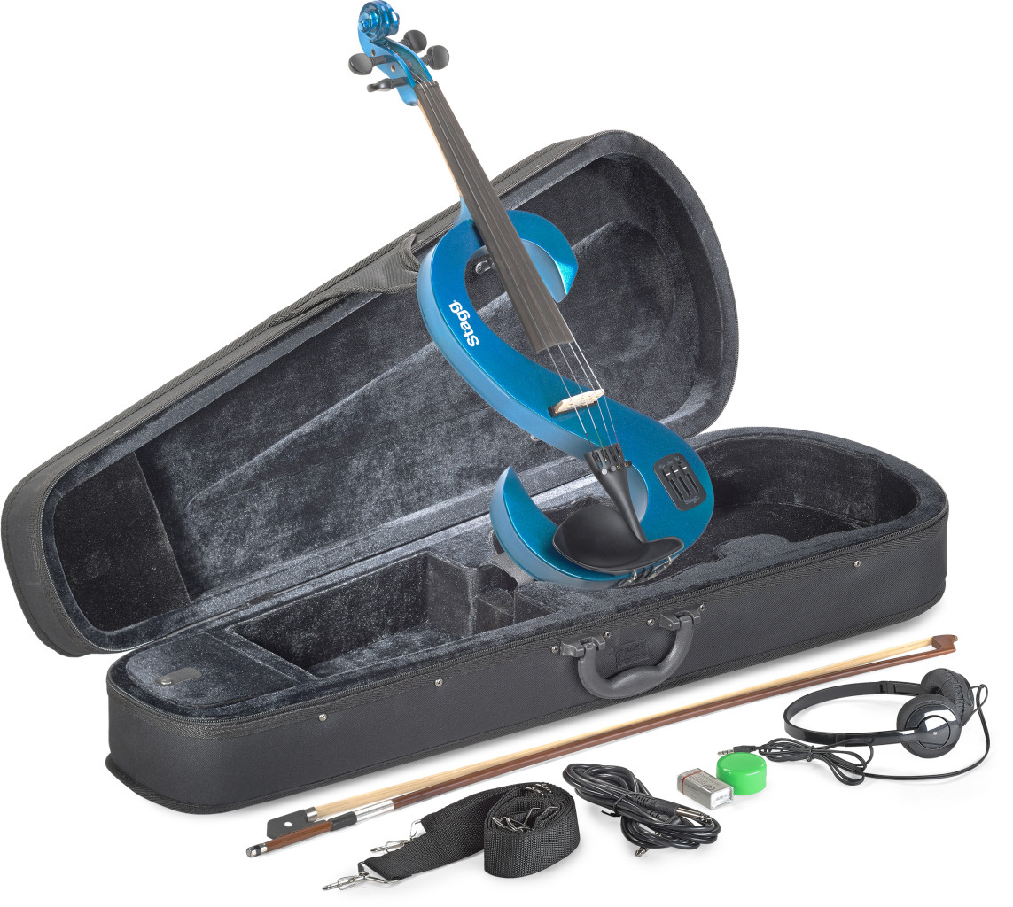 4/4 electric violin set with S-shaped metallic blue electric violin, soft case and headphones