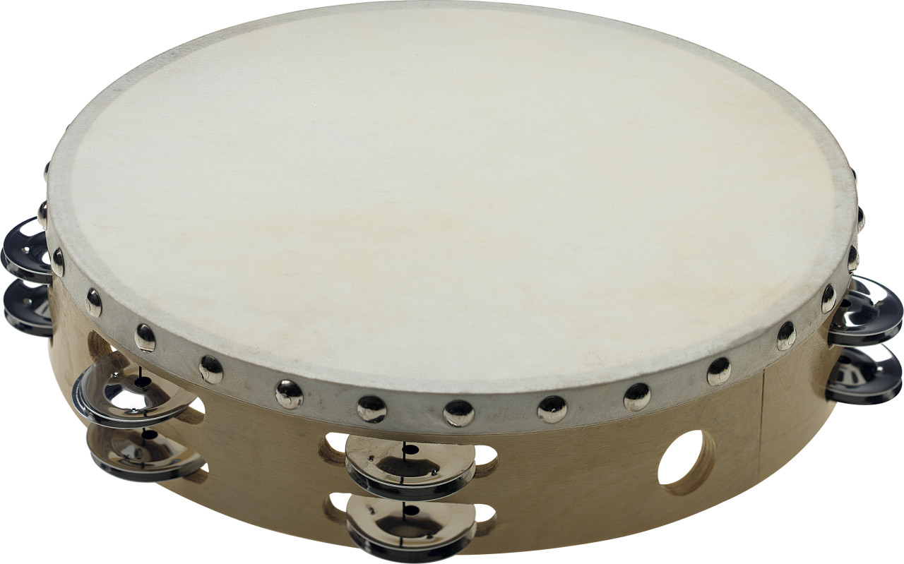 """Tambourin 10"""" pré-accordé en bois, peau fixe rivetée, 2 rangées de cymbalettes"""