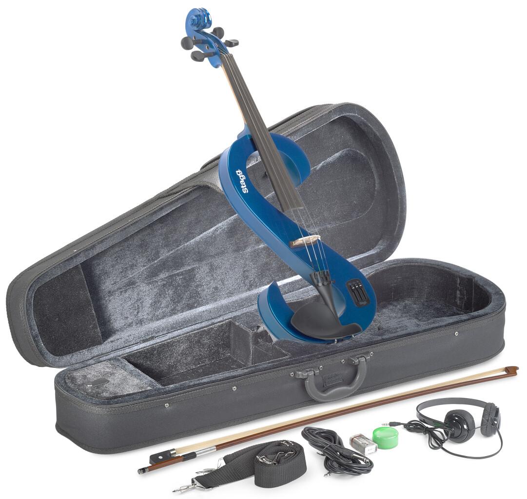 4/4 elektrische altvioolset met metallic-blauwe S-vormige altviool, softcase en hoofdtelefoon