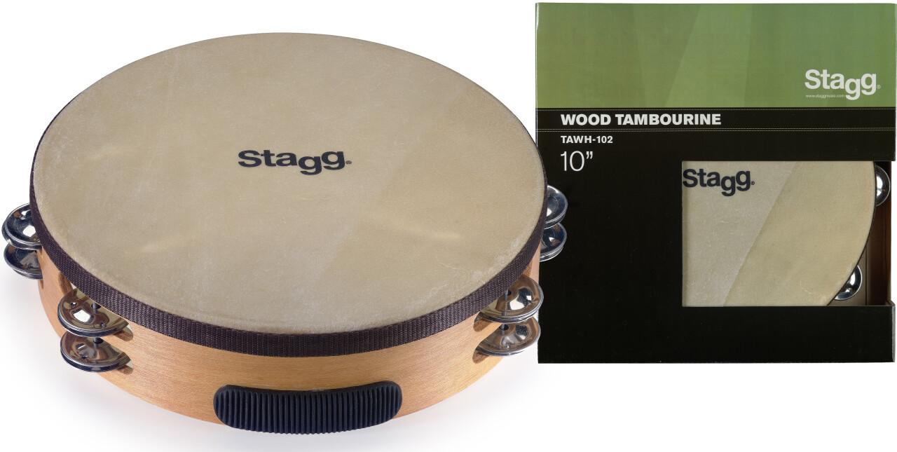 """Tambourin 10"""" pré-accordé en bois, peau fixe, 2 rangées de cymbalettes"""