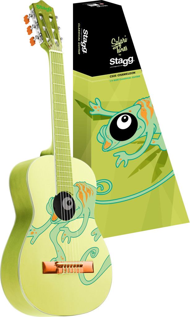 Classical guitar with chameleon graphic