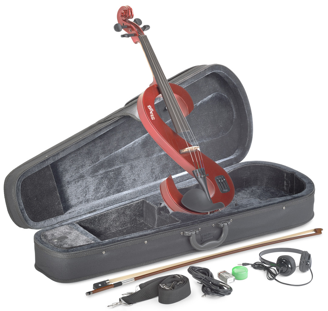 4/4 electric-viola set with S-shaped metallic red electric viola, soft case and headphones