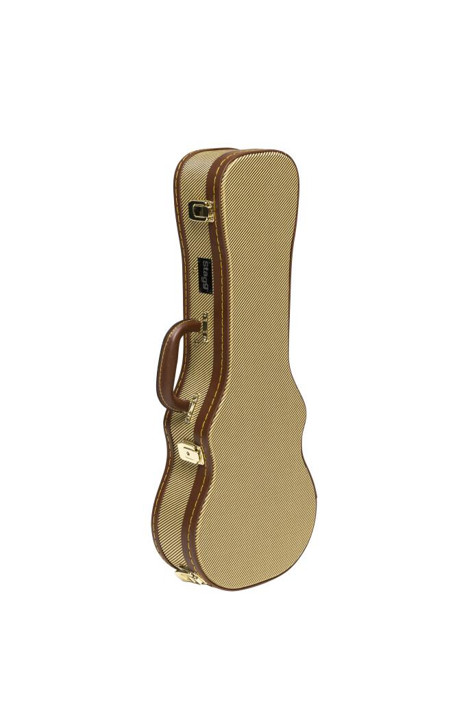 Vintage-style series gold tweed deluxe hardshell case for concert ukulele