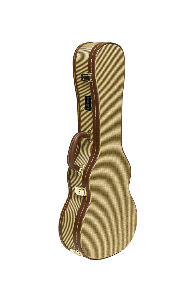 Vintage-style series gold tweed deluxe hardshell case for tenor ukulele