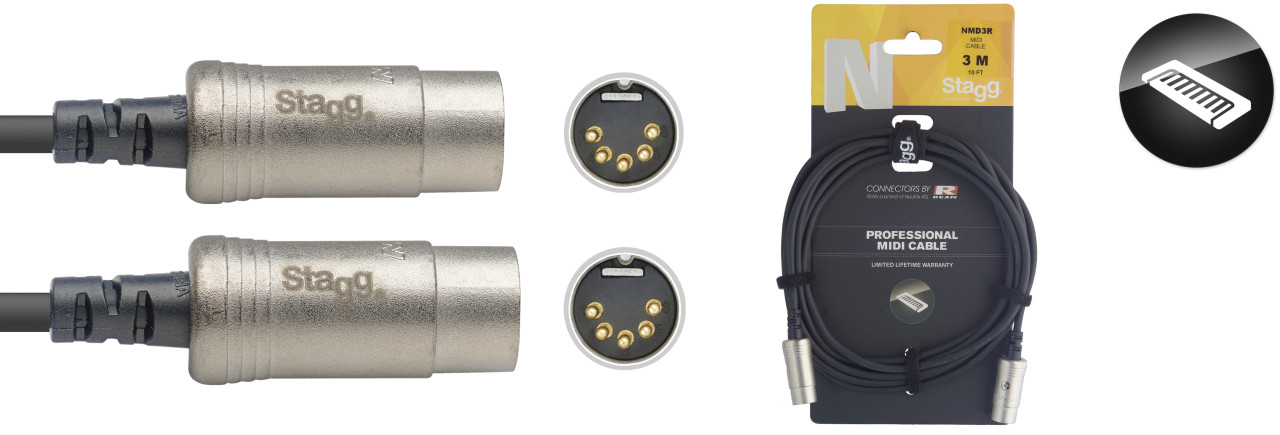 N series MIDI cable, DIN/DIN (m/m), 3 m (10')