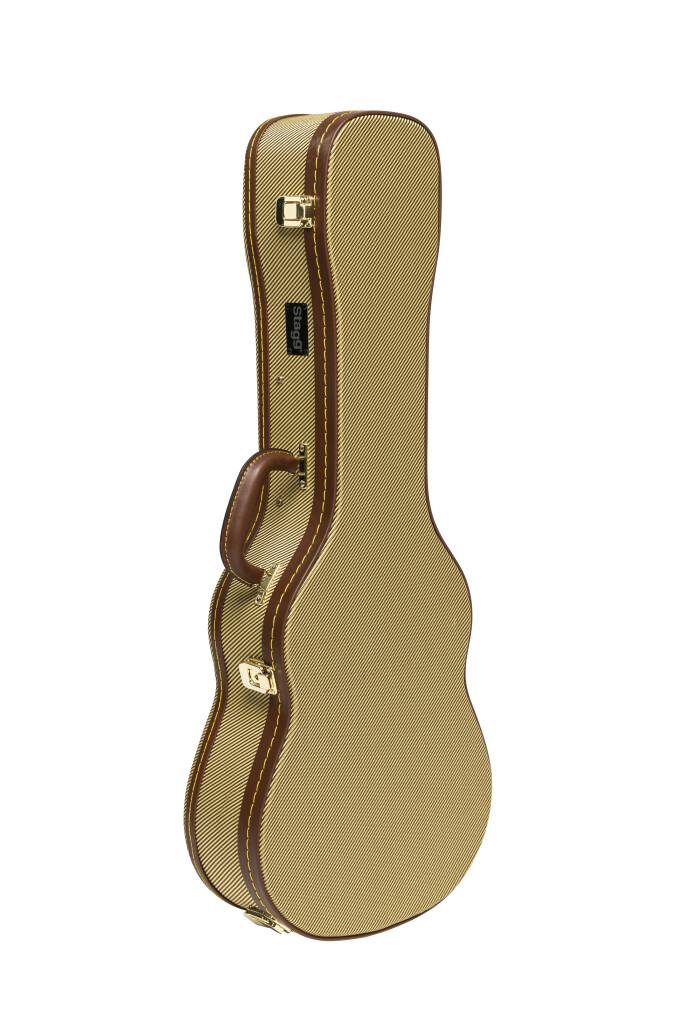 Vintage-style series gold tweed deluxe hardshell case for baritone ukulele