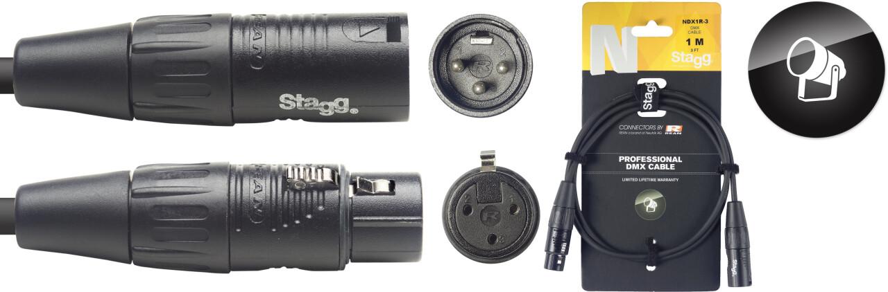 DMX cable, XLR/XLR (m/f) (3 pins), 1 m (3'), N-series