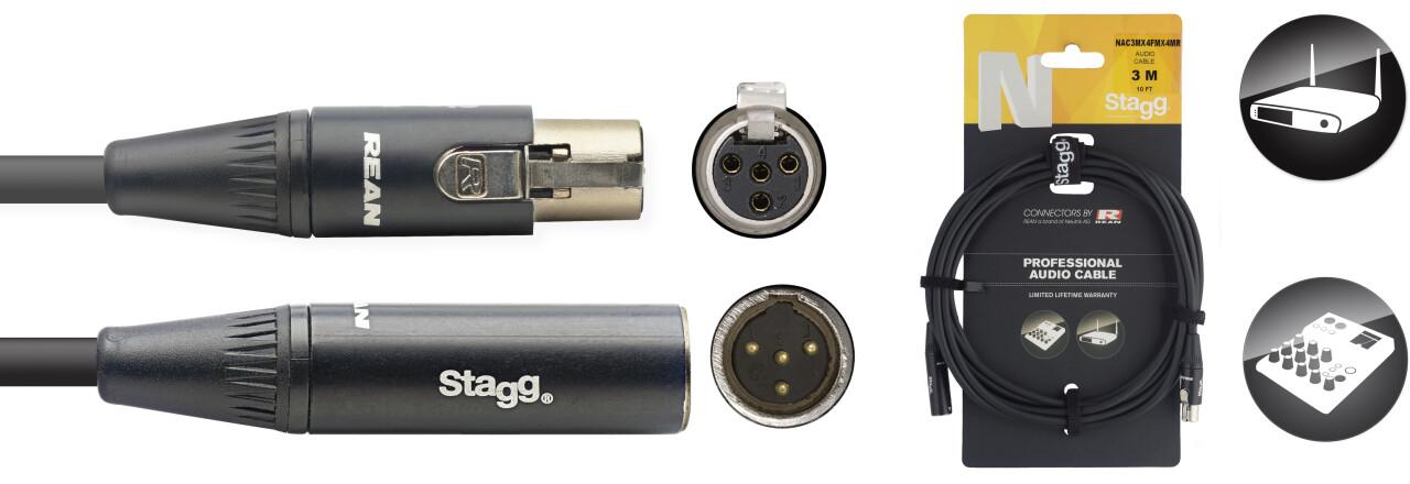 Câble audio, série N - mini XLR M / mini XLR F (4 broches)