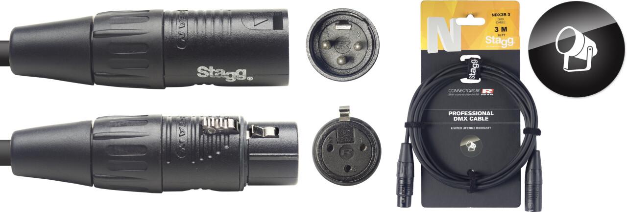 DMX cable, XLR/XLR (m/f) (3 pins), 3 m (10'), N-series