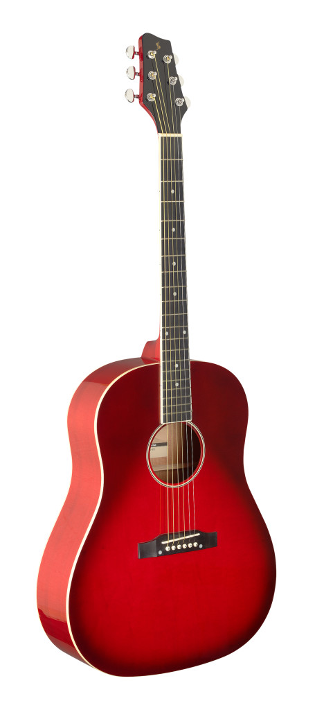 Slope Shoulder dreadnought guitar, transparent red