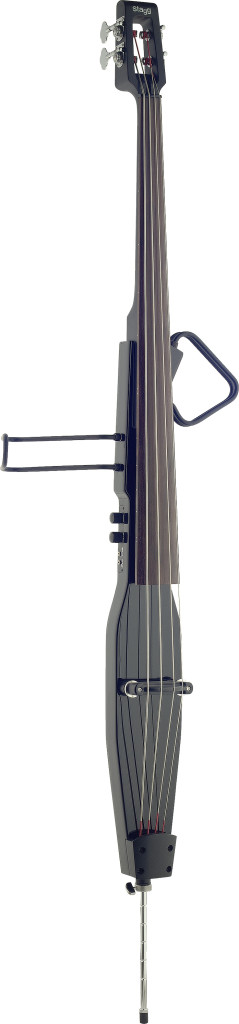 3/4 deluxe electric double bass with gigbag, metallic black