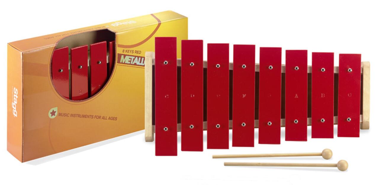 Métallophone avec 8 grandes lames rouges