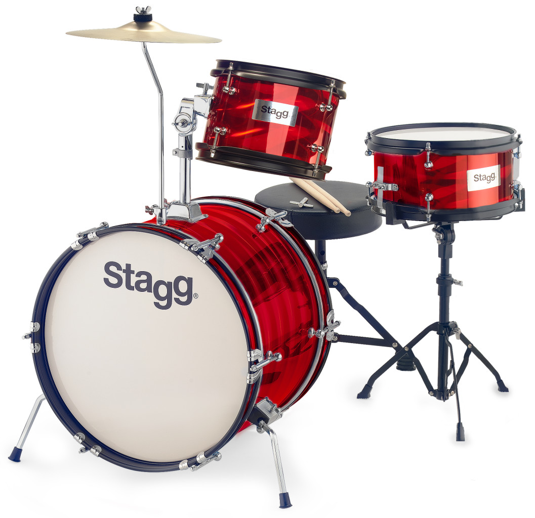 "3-piece junior drum set with hardware, 8"" / 10"" / 16"", red"