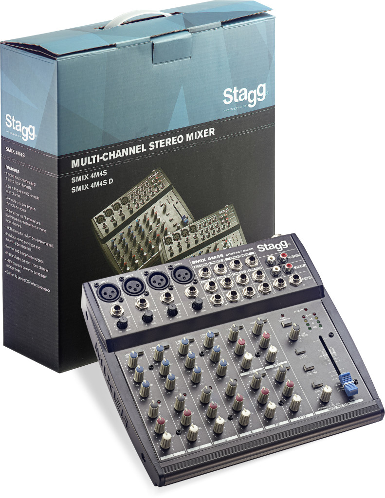 Multi-channel stereo mixer met 2-4 mono & 2-4 stereo invoerkanalen