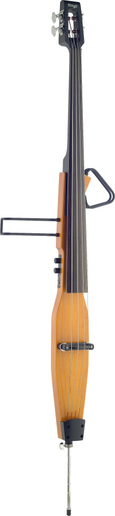 3/4 deluxe electric double bass with gigbag, honey