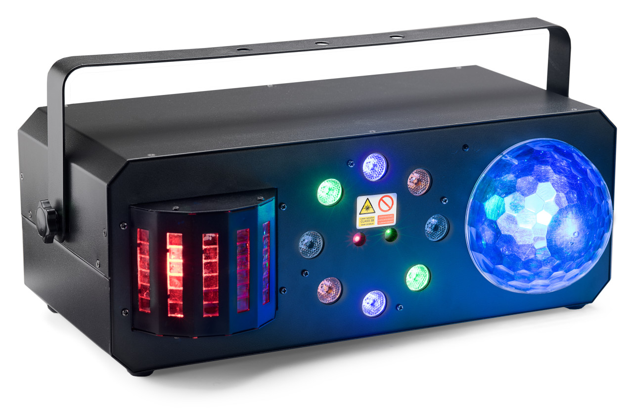 Multi-effects box with red and green lasers, derby, colour wash and discoball