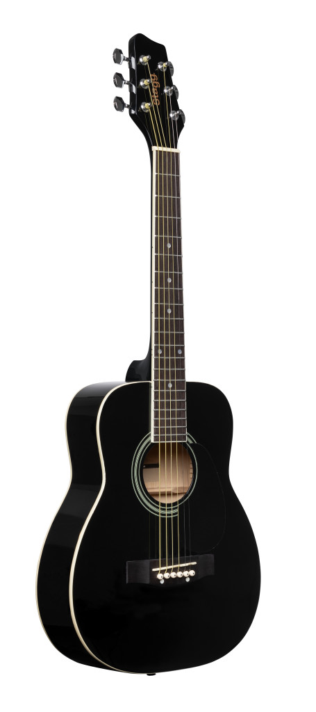 Guitare acoustique dreadnought 1/2 noire avec table en tilleul