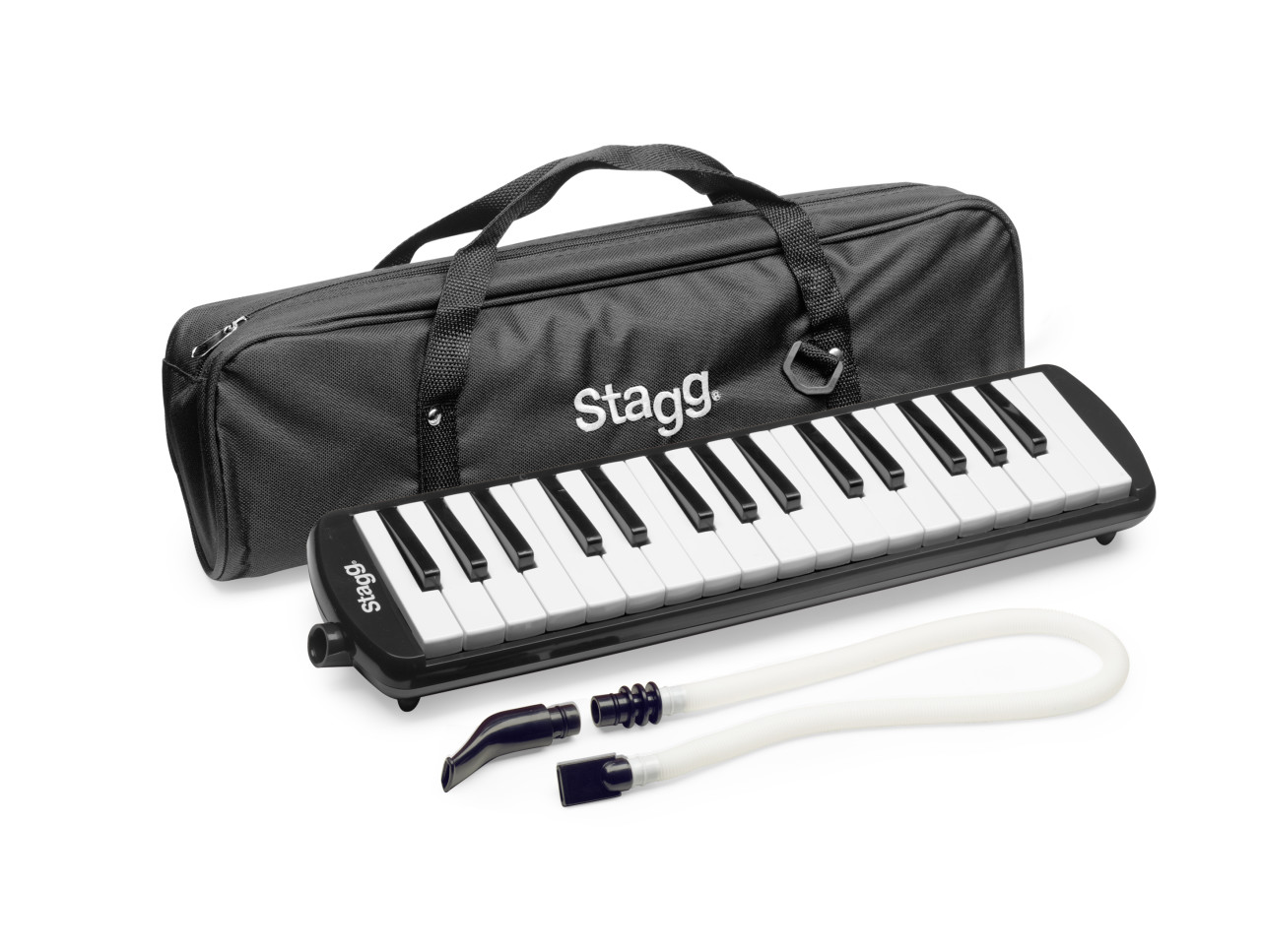 Black plastic melodica with 32 keys and black bag