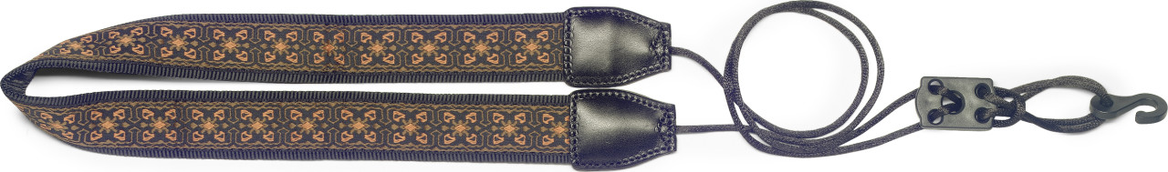 Woven nylon neck strap for ukuleles with sound-hole hook, orange flower pattern