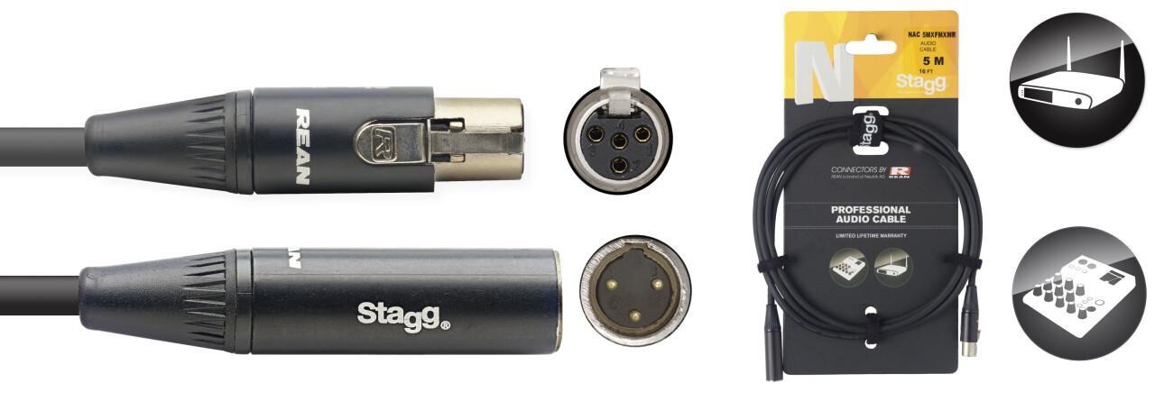 Câble audio, série N - mini XLR M / mini XLR F (3 broches)