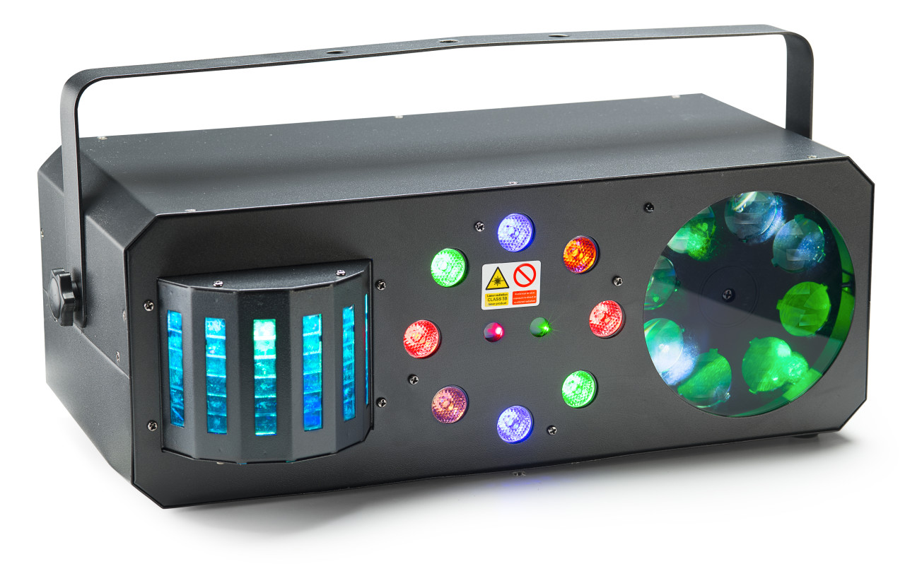 Multi-effects box with red and green lasers, derby, colour wash and flower gobo
