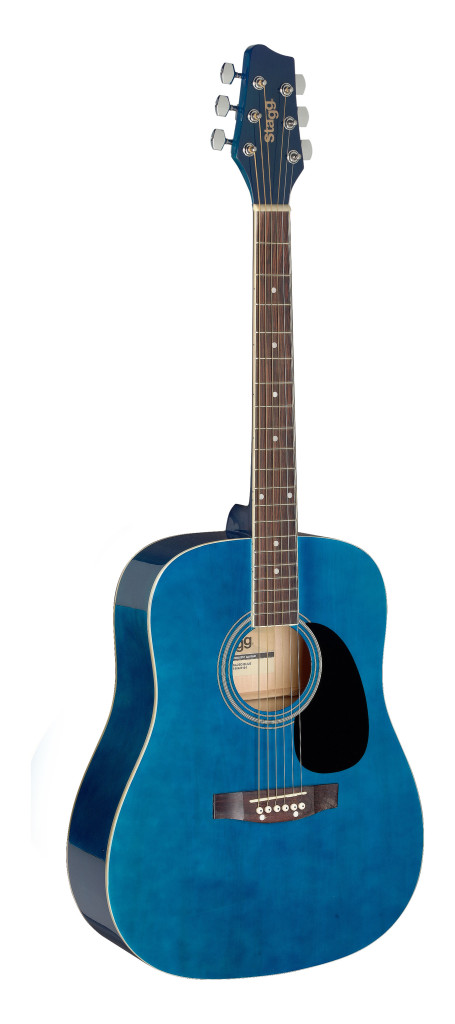 3/4 blue dreadnought acoustic guitar with basswood top