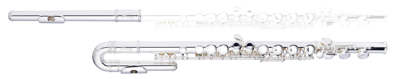 C flute, 2 head joints w/curved, closed holes, offset G, split E