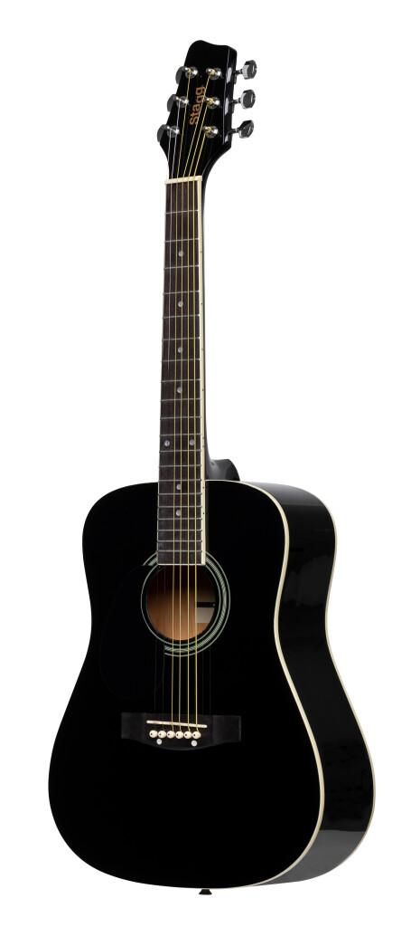 Guitare acoustique dreadnought 3/4 noire avec table en tilleul, modèle gaucher