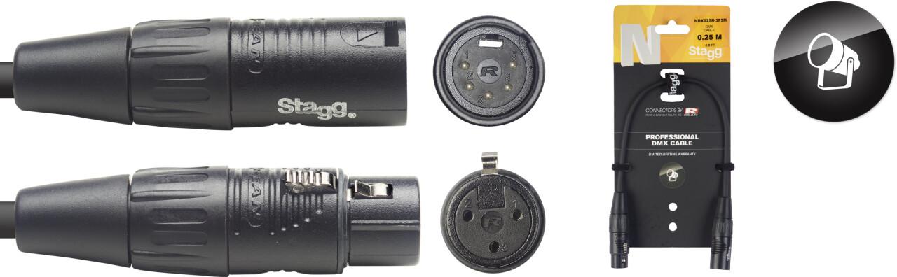 N Series, DMX converter cable, XLR/XLR (m/f) 25 cm (0.8')