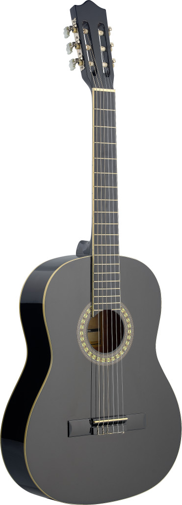 4/4 black classical guitar with basswood top