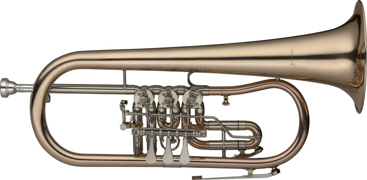 B Flügelhorn mit Drehventilen, in Goldmessing, Ausgleichsmechanik