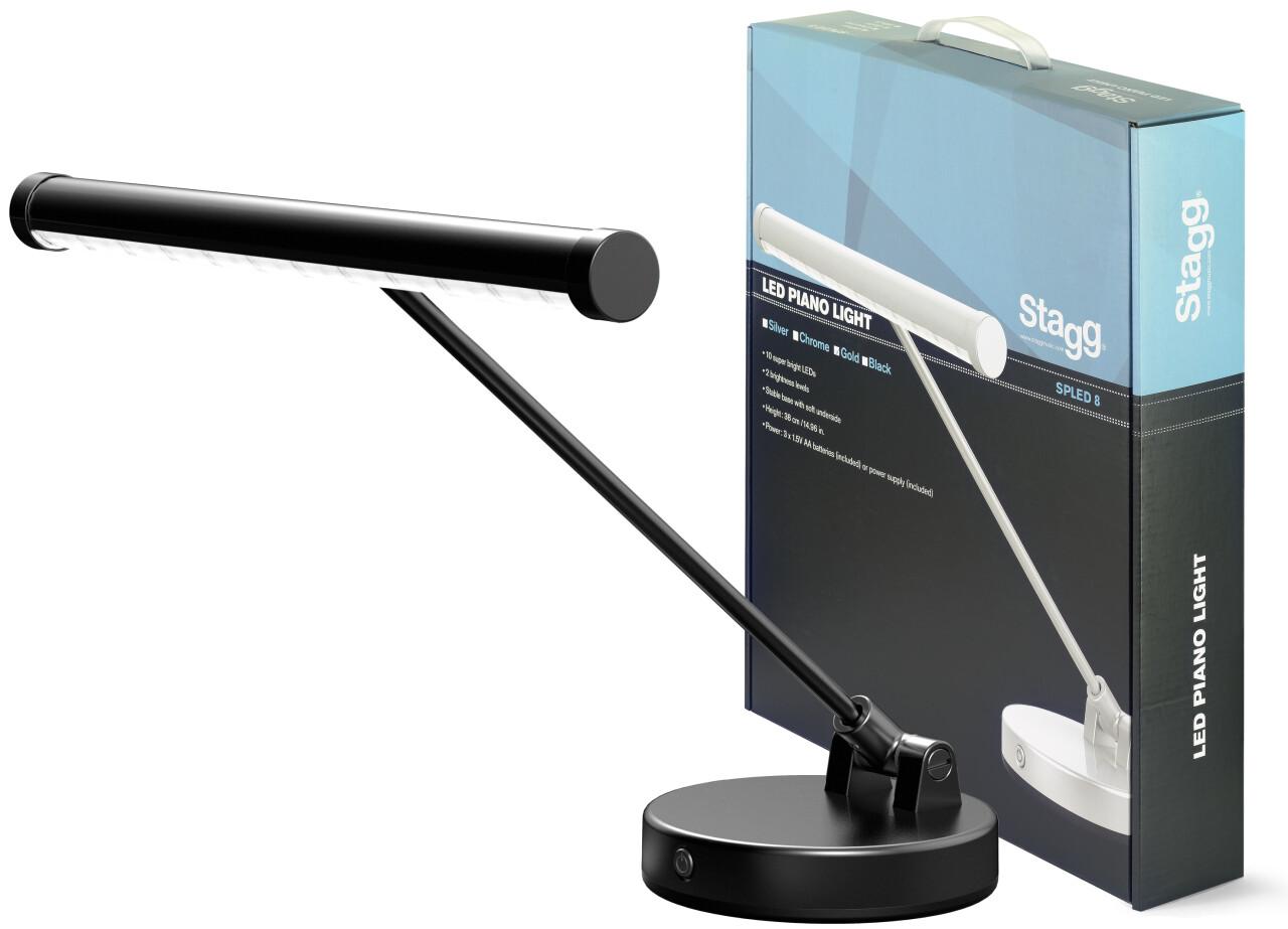 Schwarz, Batterie- oder Netzstrom-Betrieb, LED Klavier- oder Schreibtischtlampe