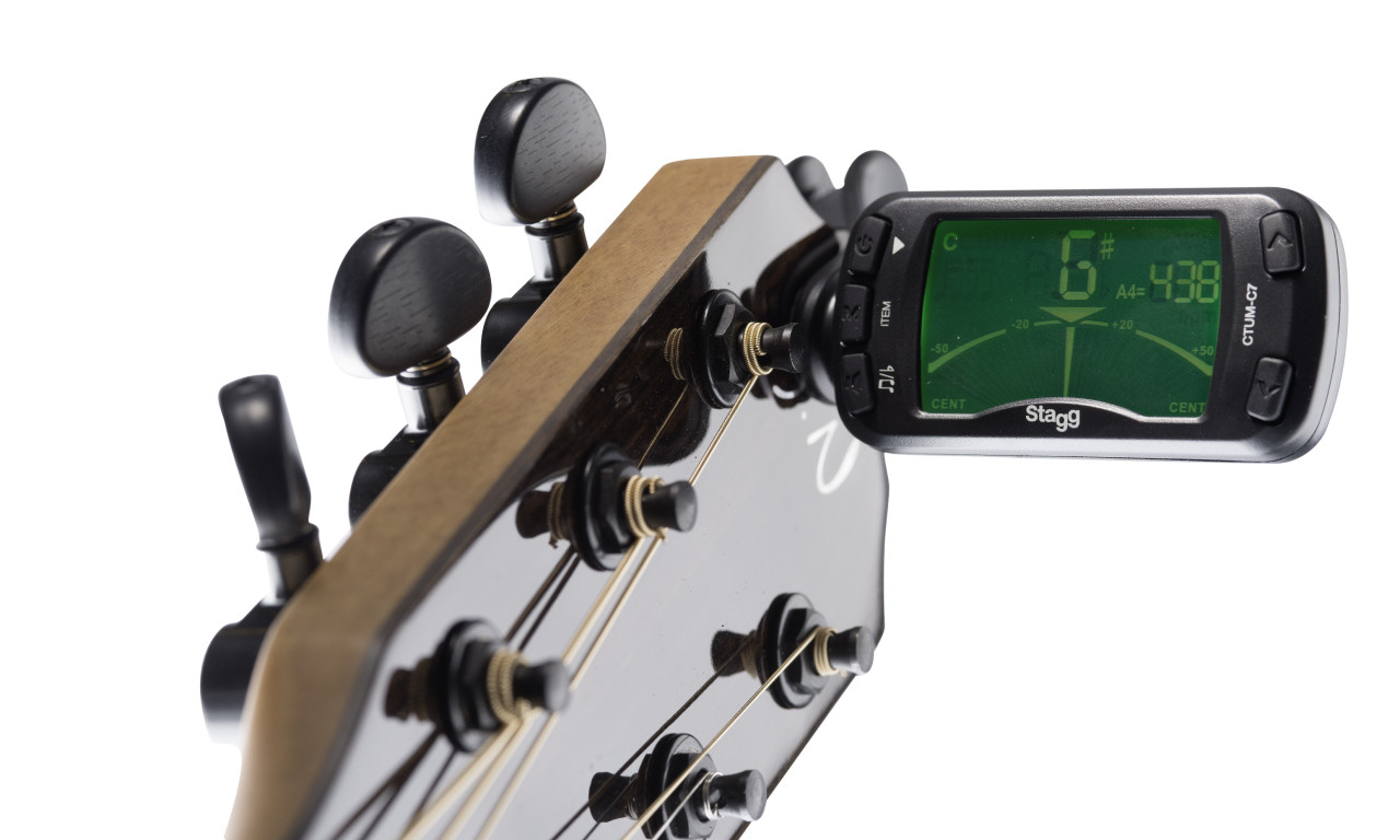 Automatic Chromatic clip-on tuner and metronome
