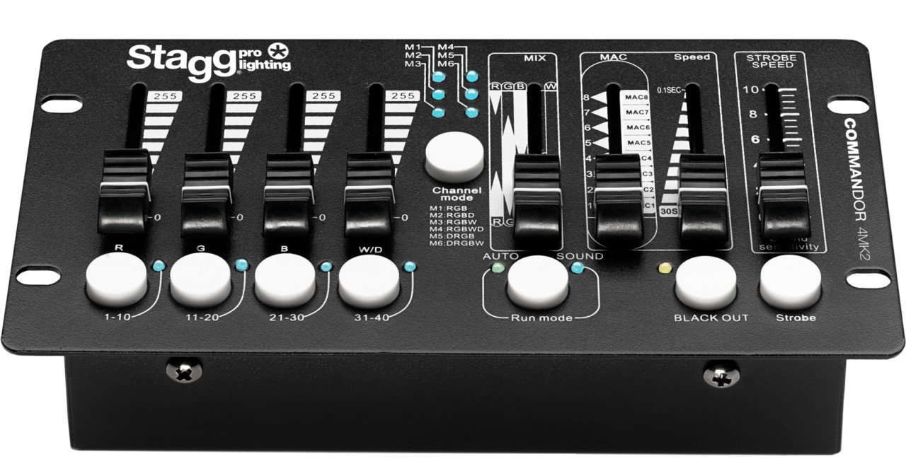 4- fixture DMX light controller for LED lights with 6 channels per fixture