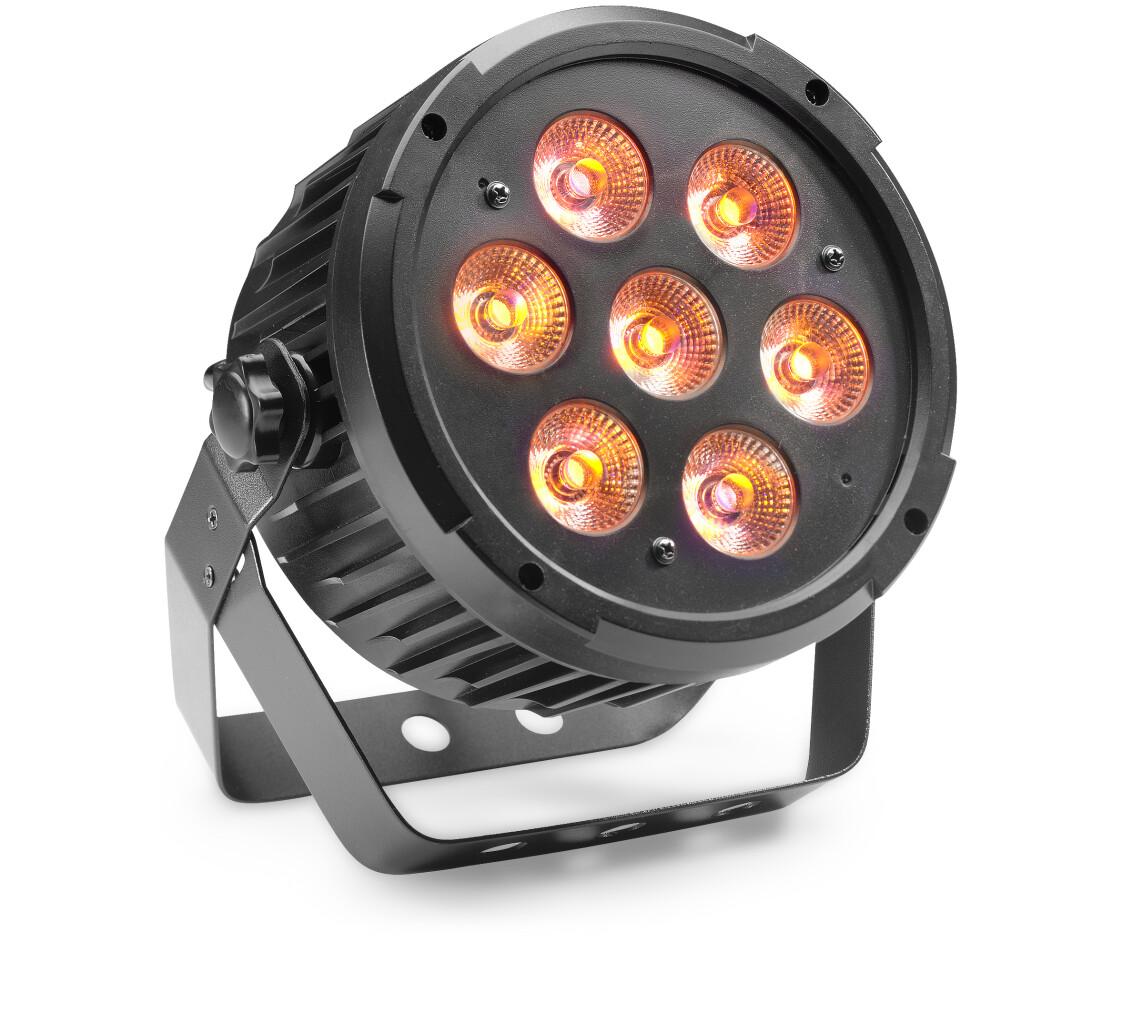 King Par met 7 x 8 watt RGBAUV (6 in 1) LED